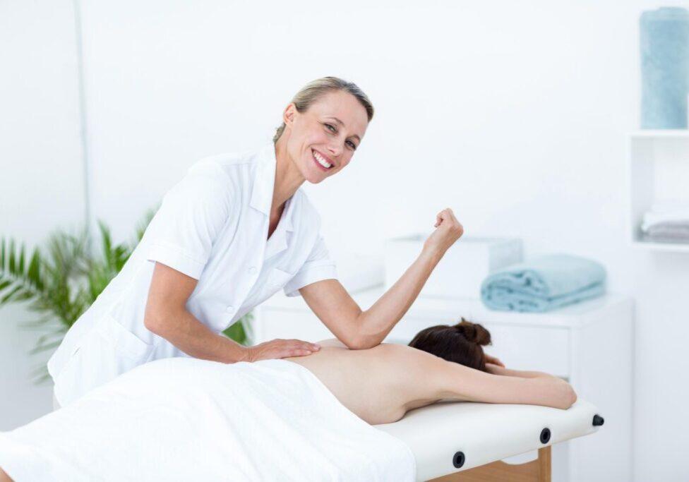 massager having a client
